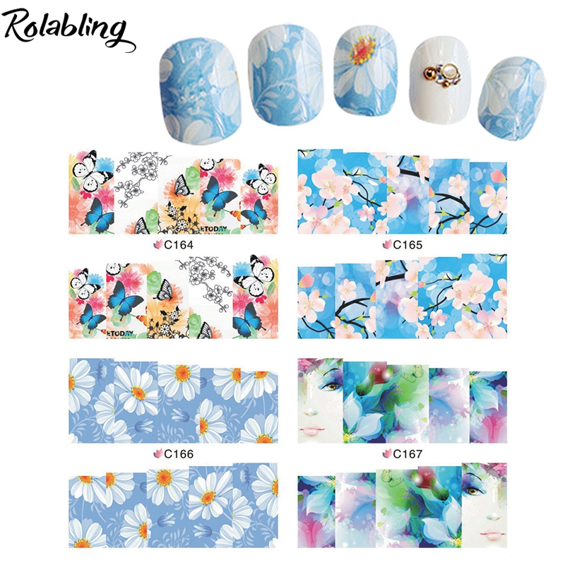 Popular Clear And Comfortable Blue Flowers Series Water Slide Decal Paper Manicure Products Decorate Fingernails For Nail Art(China (Mainland))