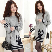 2014 New Autumn Sweaters Dress Fashion Cat Printed Long-Sleeve Knitted Pullovers Women's Knitwear (China (Mainland))