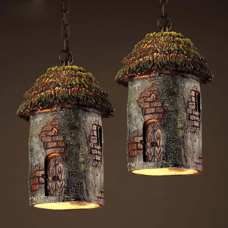Resin tree house design creative pendant lamp retro resin carving art hanging lamp bar restaurant cafe living room light fixture(China (Mainland))