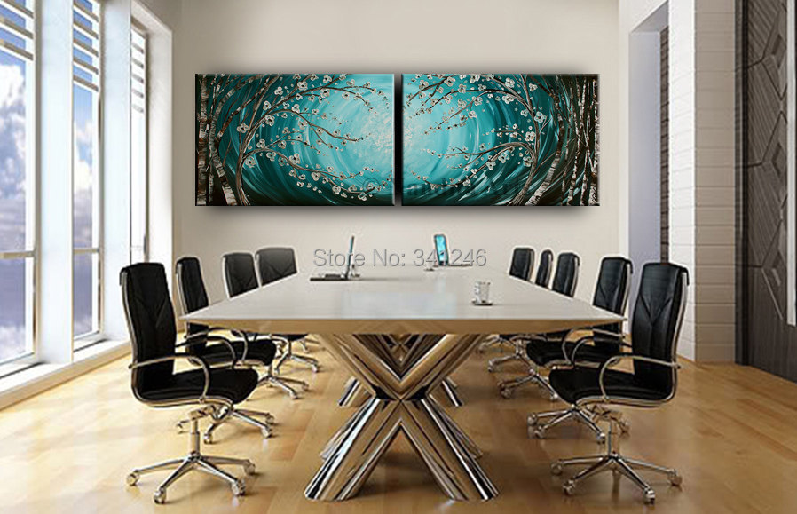 Buy Hand-painted modern home decor wall art picture couple blue white apricot  tree thick paint palette knife oil painting on canvas cheap