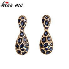 Women Vintage Jewelry 2015 Brand Design New Sapphire Rhinestone Uneven Statement Earrings Factory Wholesale(China (Mainland))