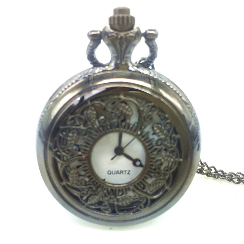 Exquisite Carved Leaf Vintage Style Pocket Clocket Watch Pendant Necklace Fashion Leisure
