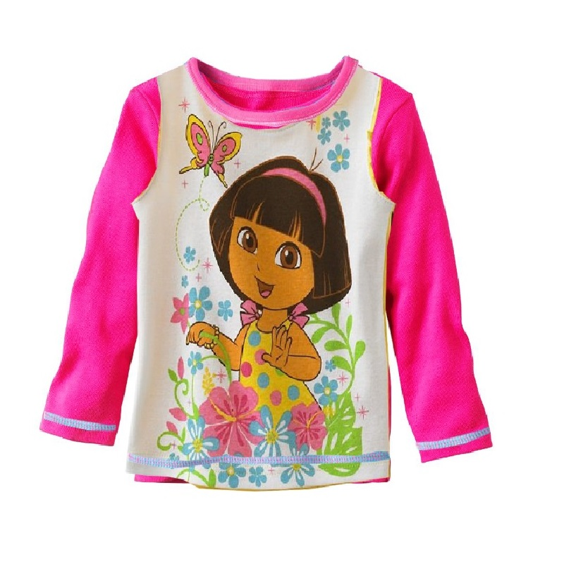 Children's Tees Shirts Long Sleeve dora Tops girls t-shirts 100% Cotton Top Quality Retail Dropship(China (Mainland))