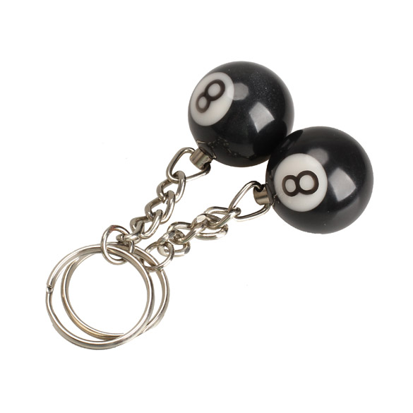 New Arrival 2pcs Billiard Pool Keychain Snooker Table Ball Key Ring Gift Lucky NO.8 SL(China (Mainland))