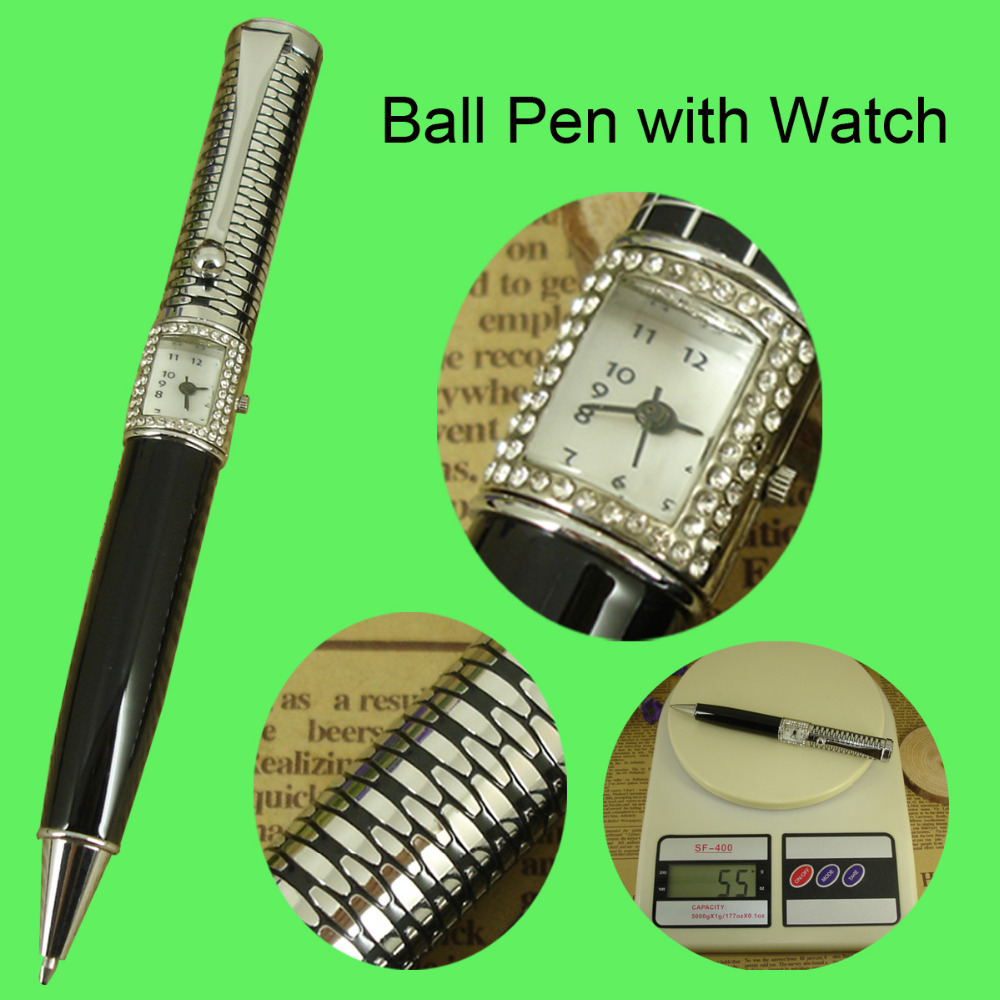Original Design Pen with Watch Etching Pattern Ballpoint Pen Embossing cap with China Crystal Watch and Jewellery Products Gifts(China (Mainland))