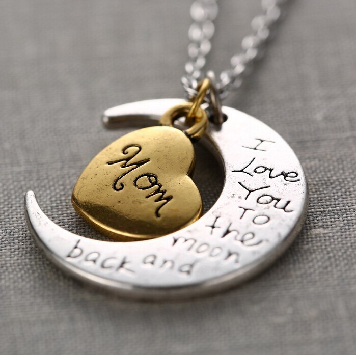 Hot Sale I Love You To The Moon And Back Necklace Vintage Family Necklaces Pendants Fashion