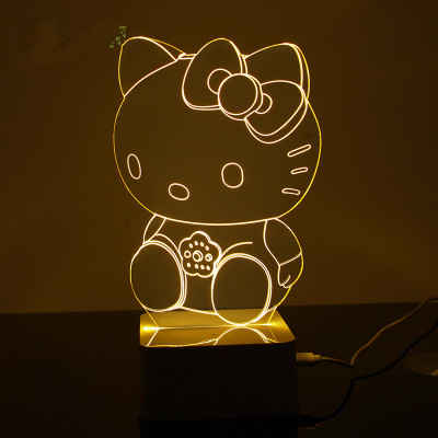 Creative 3D stereoscopic visual LED lamp bedroom bedside night light decorative ambience(China (Mainland))