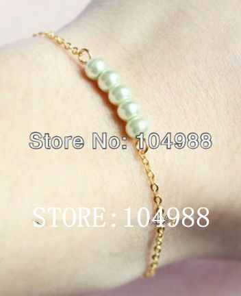 FREE SHIPPING 1 pcs New Women Thin Gold/Silver Metal Chain White Imitation Pearls Hand Bracelets Jewelry(China (Mainland))