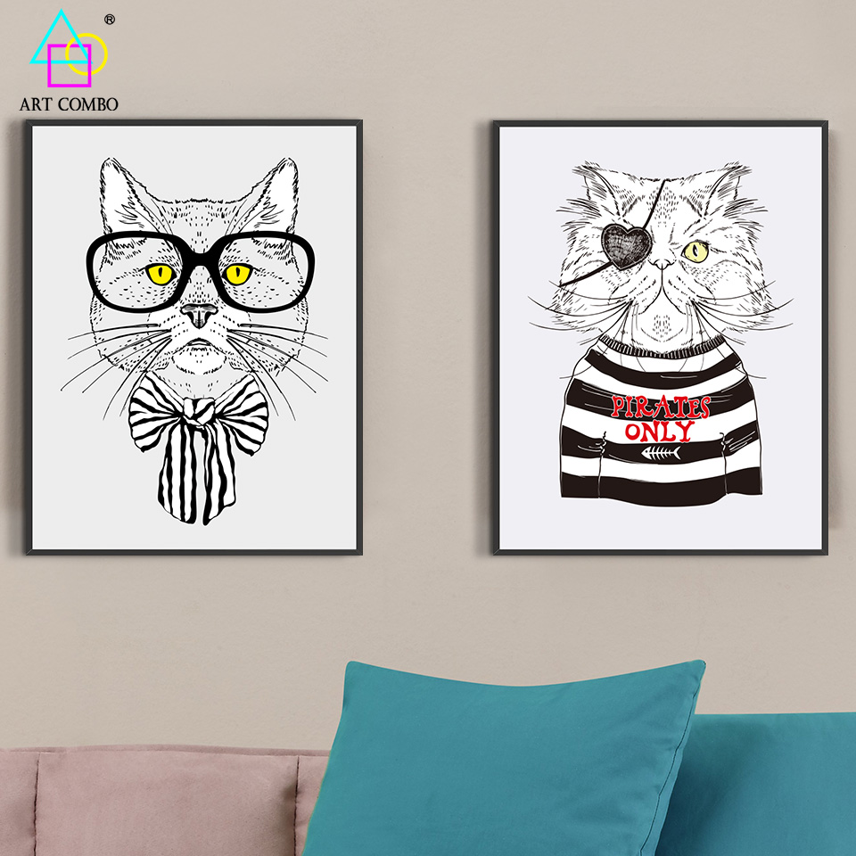 Unframed Modern Canvas Painting Dress Fashion Animals Cat With Glasses Nice Wall Art Picture Home Decor Posters ART COMBO KT022(China (Mainland))