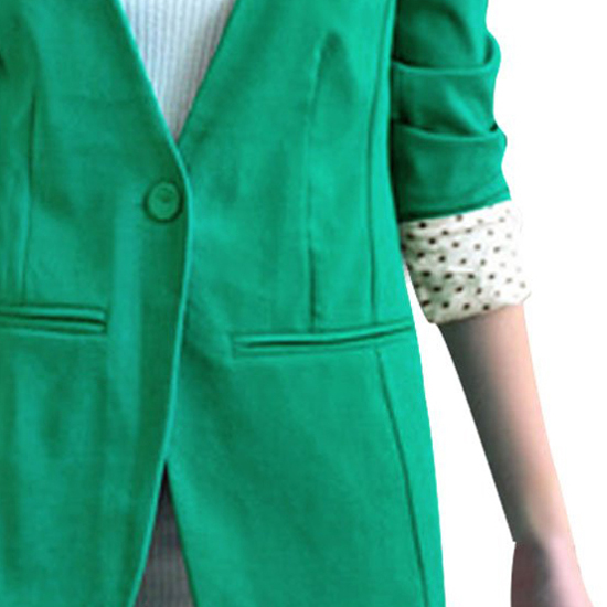 Фотография FAAJ 5 x (Women Long Sleeve One Button Padded Shoulder Casual Boyfriend Blazer -M(Green)