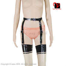 Buy Sexy Latex garters black Elastic Rubber suspender Stockings belt Clip XXXL Gummi Braces Tights High straps girdle plus size