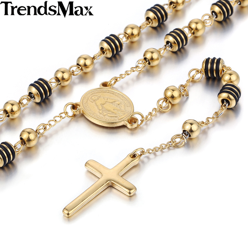 Trendsmax Stainless Steel Bead Chain Jesus Christ Cross Pendant Rosary Necklace Mens Womens Unisex Jewelry KN434-KN441(Hong Kong)