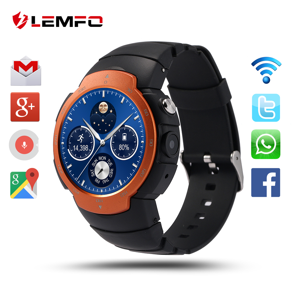 LEMFO LEM3 Smart Watch Android 5.1 OS MTK6580 Quad Core smartwatch Phone Support google map 3G WiFi APP Heart Rate Monitoring(China (Mainland))