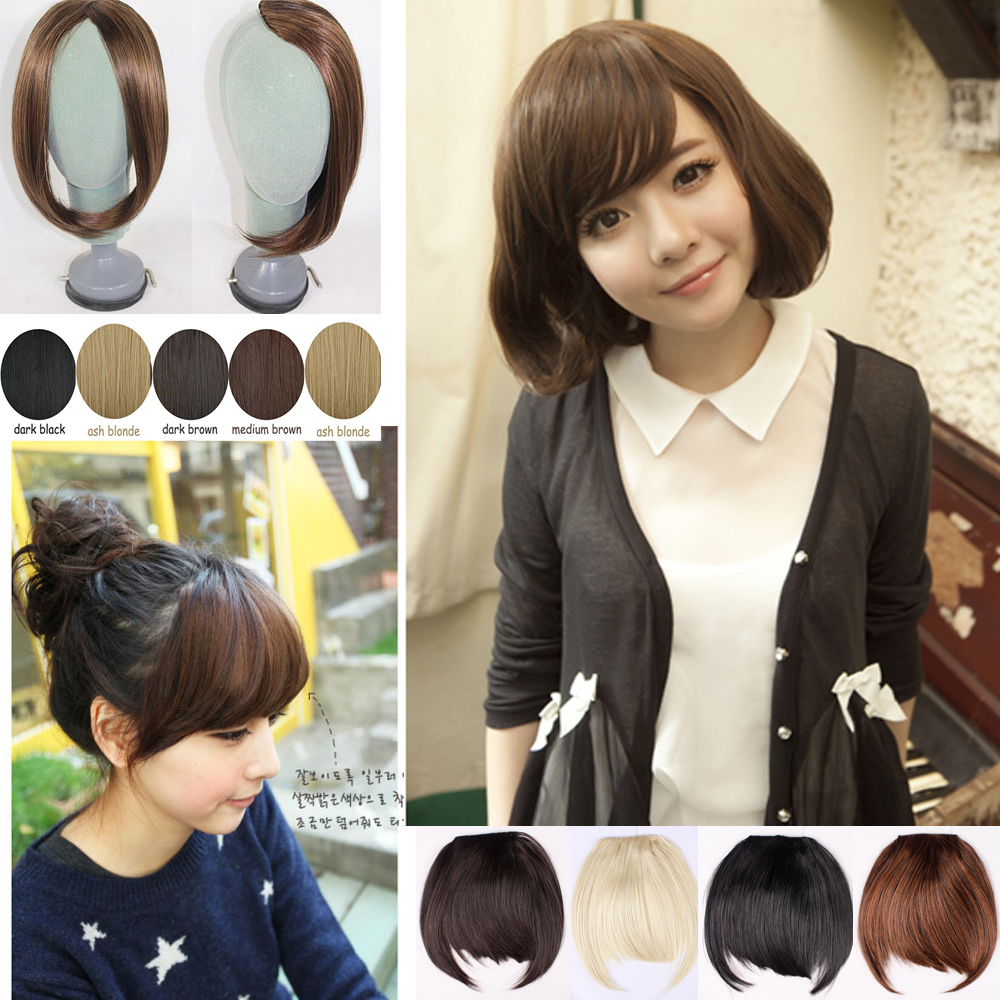 Free shipping New Side Long Synthetic Clip in Fringe Bangs Hair Extensions DARK BLACK BROWM(China (Mainland))