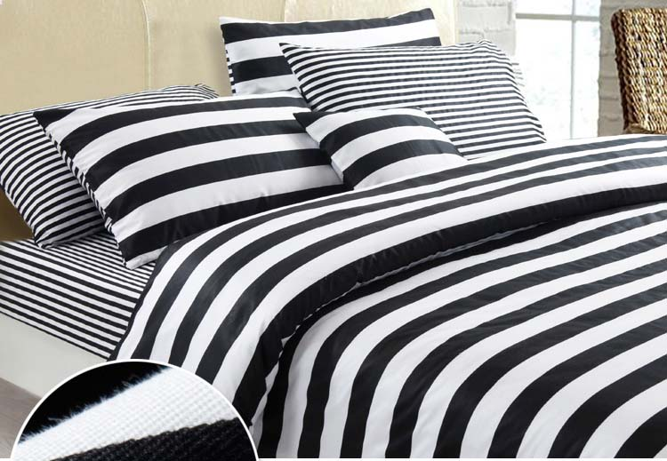 4feet 5feet 6feet bed black and white stripe modern print - Modern black and white bedding ...