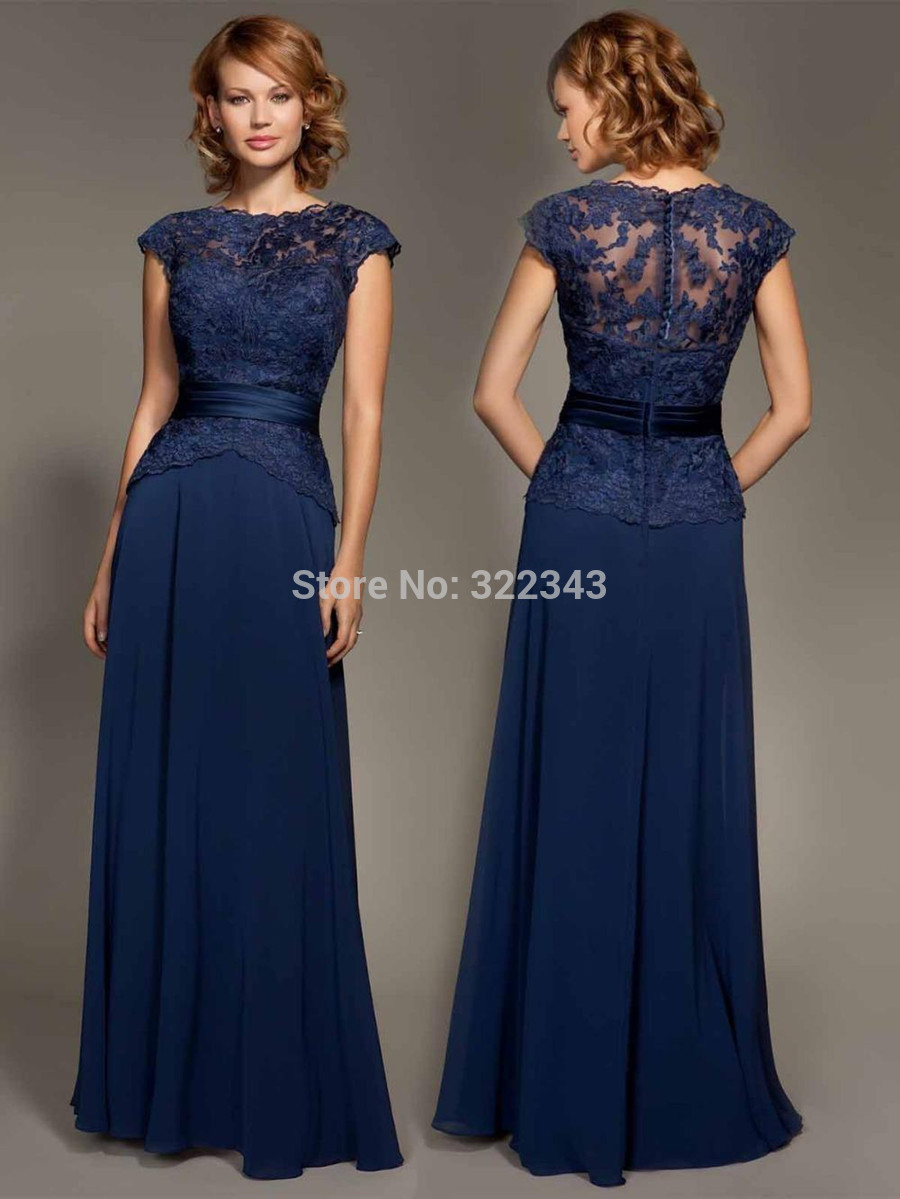 Cheap dark navy blue lace cap sleeve chiffon floor length for Floor length gowns