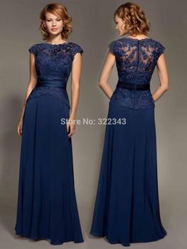 Тёмный морской синий кружево короткий рукав шифон минимальный уровень - Evenig платье ...