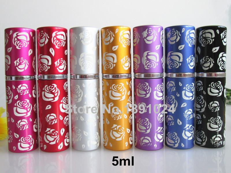 25pcs/lot Perfume bottle 5ml Aluminium Anodized Perfume Atomiser Fragrance Glass Scent Bottle(China (Mainland))
