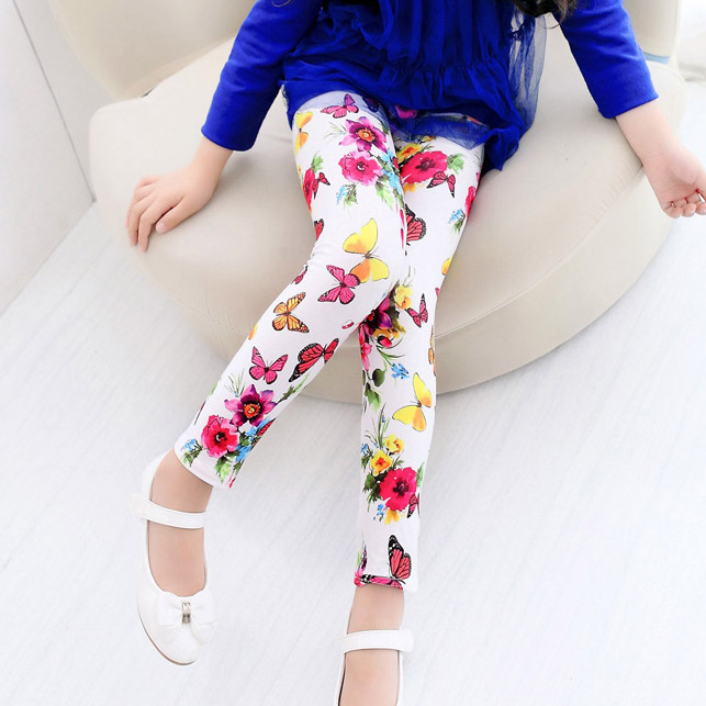 retail free shipping children girls fashion flower legging baby lovely floral pants kids skinny trousers baby girl clothes(China (Mainland))