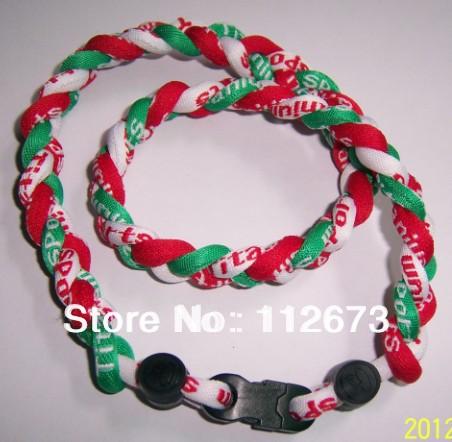 wholesales titanium 3 ropes necklaces titanium magnetic balance sport custom necklace 16/18/20/22 inch 100pcs/lot free shipping(China (Mainland))