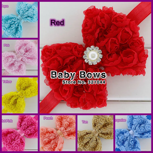 4.7'' Chiffon Rosette Hairbow Jewelry Pearl Bows Glued With Elastic Headband Baby Girls Headbands Infant Hairband Hair Accessory(China (Mainland))