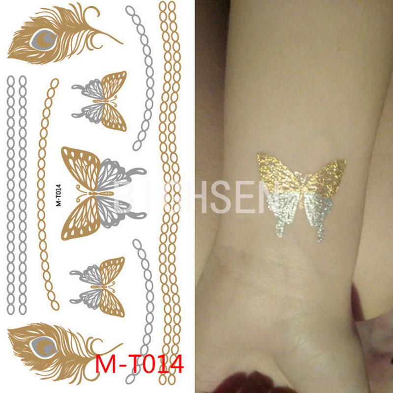 21x10cm Butterfuly Designs Tattoo Gold Flash Tattoo Pictures Gold Tattoos Sticker Waterproof Tattoos Metallic Body Paint BMT0014(China (Mainland))