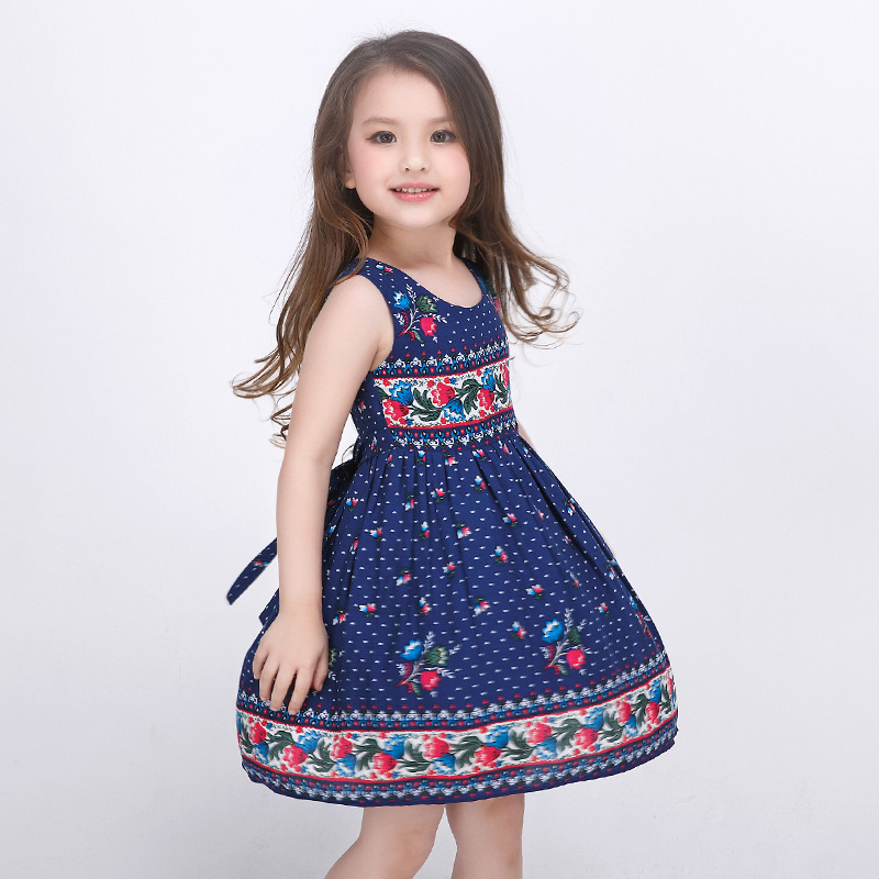 100-160cm Knee-length A-line Sleeveless Print Kids Formal Dress Toddler Flower Girl Dresses Robe Mariage Enfant Sommerkleid 176(China (Mainland))