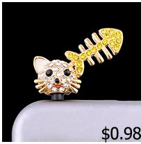 New Arrival  Gold Or Silver Plated Full Rhinestone Cute Owl  Dust Plug 3.5mm Earphones Plug Fashion Cell Phone Accessoires
