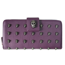 Women Girls Skull Plain Color Leather Style Halloween Long Purse Coin Wallet Handbag Hand Bag Gifts L1426(China (Mainland))