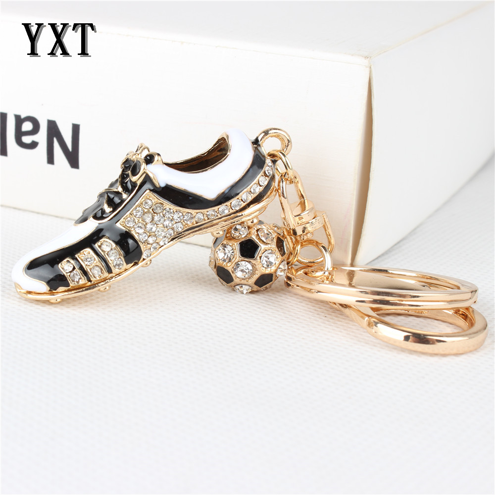 Fashion Football Shoe Sport Lovely New Fashion Cute Crystal Charm Pendant Purse Bag Car Key Ring Chain Party Creative Gift(China (Mainland))