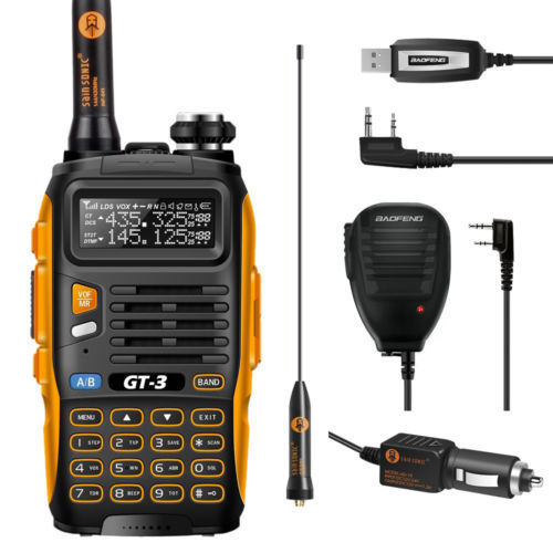Baofeng GT-3 * Mark II * VHF/UHF 136-174/400-520 MHz Dual-Band FM Ham Two-way Radio Walkie Talkie + Programming Cable+Microphone(China (Mainland))