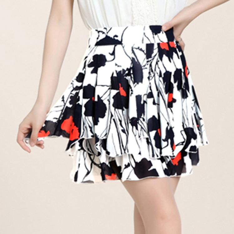 summer of 2015 Korean version of the new printed chiffon skirt waist slim skirt manufacturers selling one generation(China (Mainland))