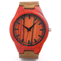 Fashion Genuine Cowhide Leather Luxury men Watches 100 Natural Red Bamboo Wood Men Wristwatch For Idea