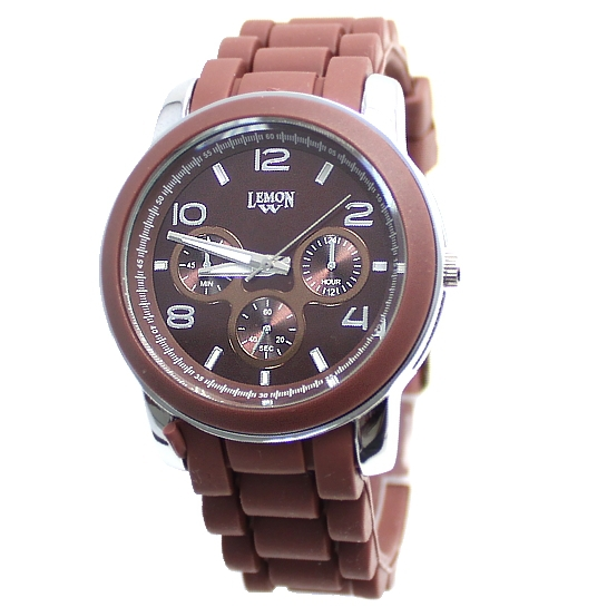 Free Shiping  FW831E Round PNP Shiny Silver Watchcase Silicone Brown Band Unisex Fashion Watch<br><br>Aliexpress