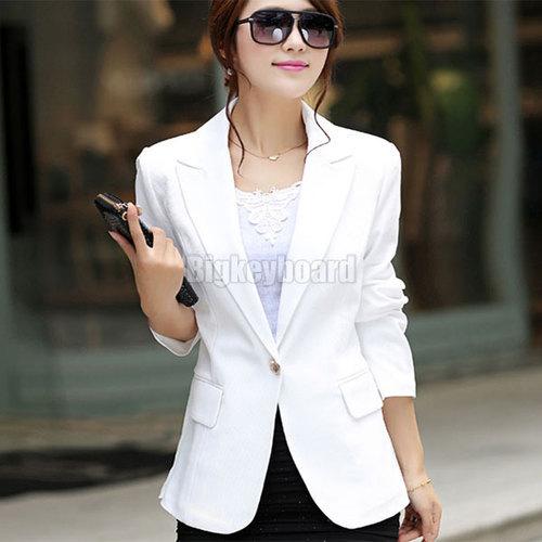 Дамы женщин весна осень приталенный один пуговица пальто костюм блейзер осень шифон блейзеры куртка пальто верхней одежды