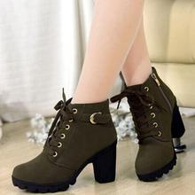 2019 neue Herbst Winter Frauen Stiefel Hohe Qualität Solide Lace-up Europäischen Damen schuhe PU Mode high heels Stiefel 35-43(China)