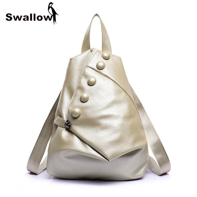 Gold Triangle Women's Leather Big Button Backpacks For Teenage Girls Casual Travel Women Bag Ladies Bolsa Mochila Feminina Couro