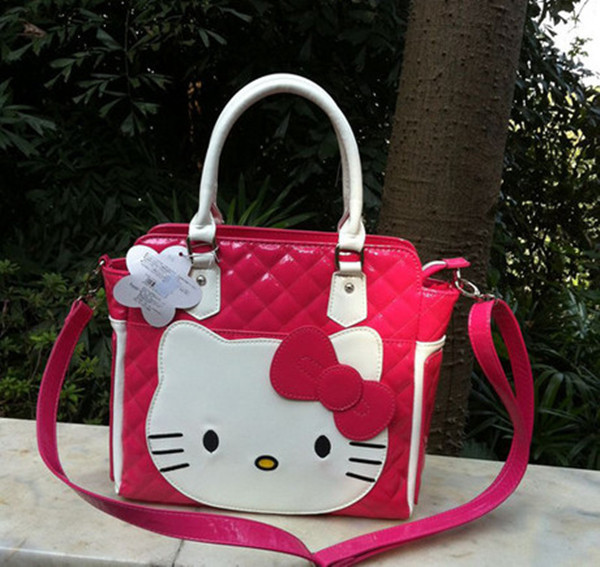 2014 New Bow Hello Kitty Zipper Messenger tote bag handbag shoulder Women Girl Lady Size(32cm*29.0cm*9.5cm) - Products store