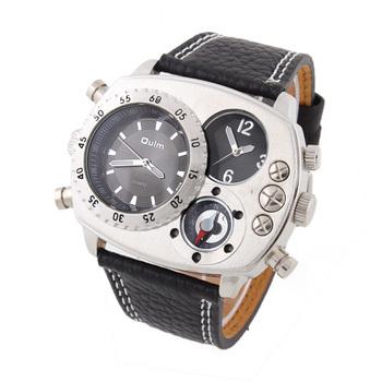 OULM mens Compass Quartz Watch Multiple Time Zone sports Wristwatch