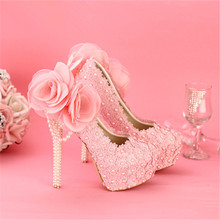 New beautiful pink pearls wedding Shoes round toe lace flowers High Heels elegant rhinestone Bridal dress Shoes prom  pumps
