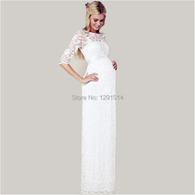 Buy White Lace Maternity Bridal Gowns Half Sleeve Floor Length Sheer Neck Custom Made Cheap Wedding Dresses Pregnant Women for $129.00 in AliExpress store