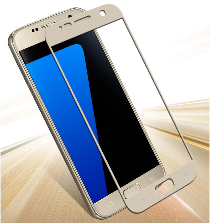 3D Full Cover Color Tempered Glass For Samsung S4 S5 S6 Note 3 4 5 A5 A7 A9 2016 C5 C7 Metal Printing Film Screen Protector