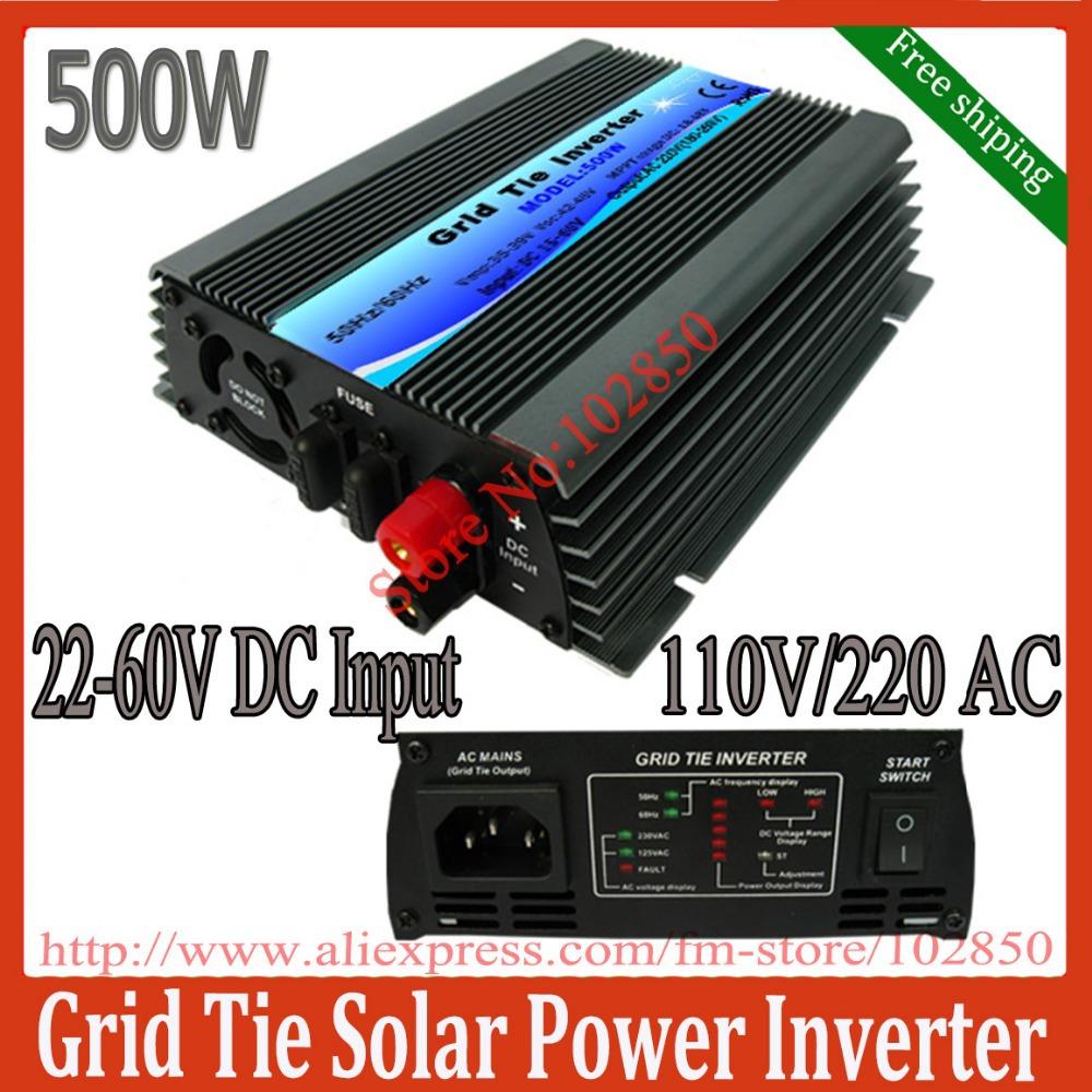500W mppt grid tie solar inverter,pure sine wave power inverter ,22-60V DC input,120/230V AC output,CE,free shipping(China (Mainland))
