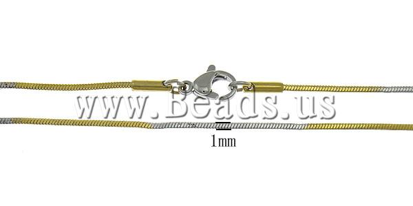 Free shipping!!!Necklace Chain,Vintage, Stainless Steel, stainless steel lobster clasp, gold color plated, two-tone, 1mm