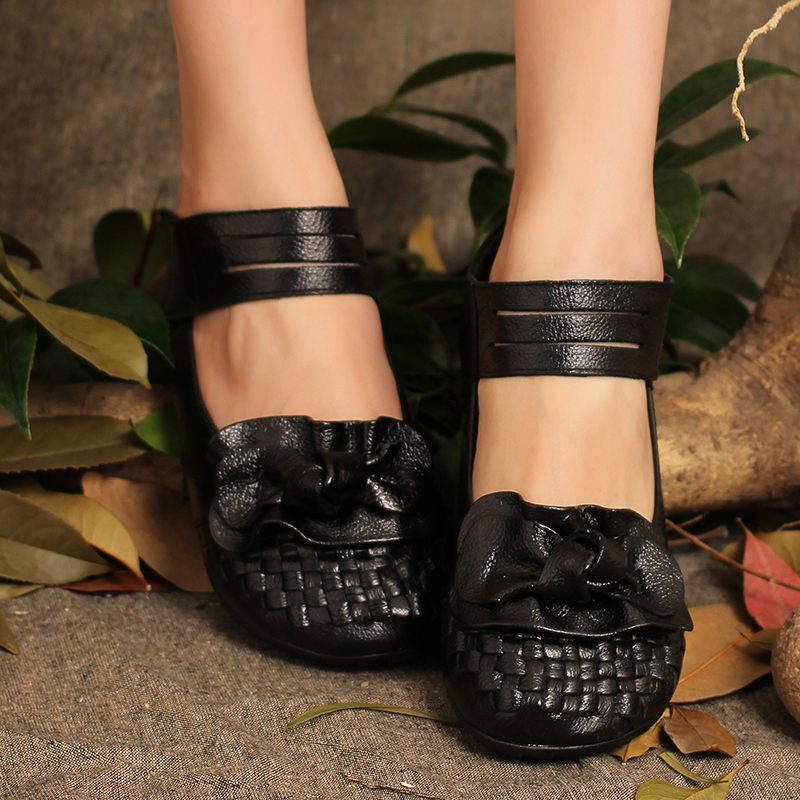 2015 Autumn  Full Grain Leather Women Flats Shoes with Flower Handmade Women Casual Shoes<br><br>Aliexpress