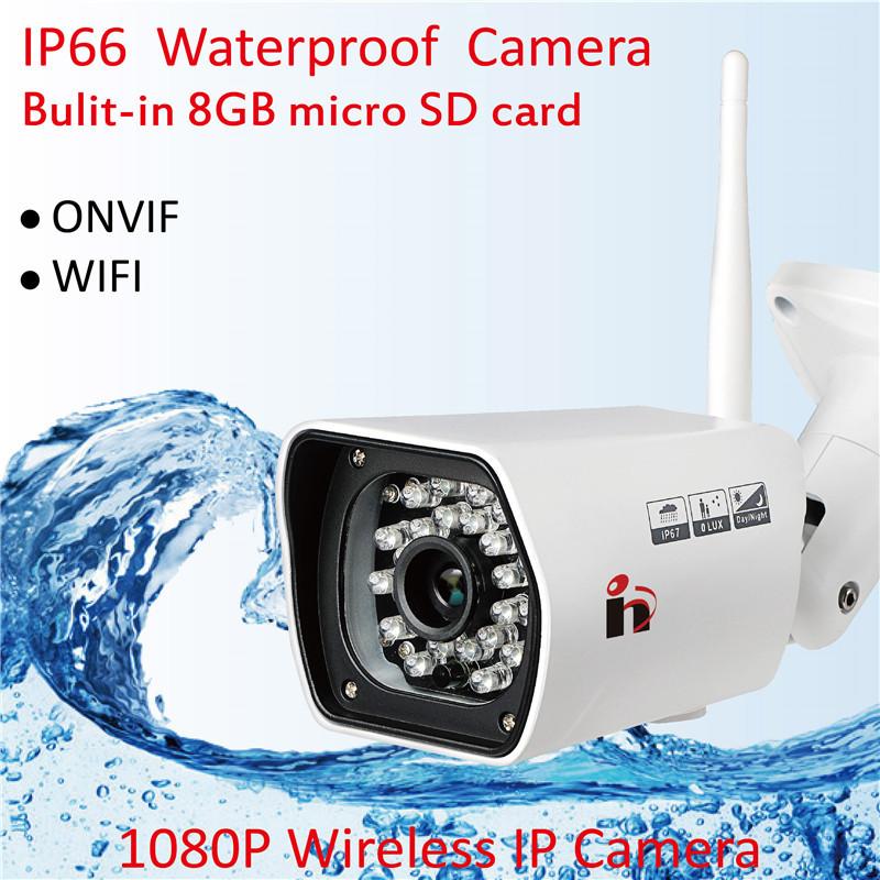 HY Free Ship HD 1080P Waterproof Bullet IP Camera WIFI Wireless Outdoor Surveillance Camera ONVIF NVR Security IR Night Vision(China (Mainland))