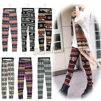 2013 New Hot Women Fashion Snowflake Reindeer Knitted Warm Leggings  Pants 17 Types Free Shipping 10265  34