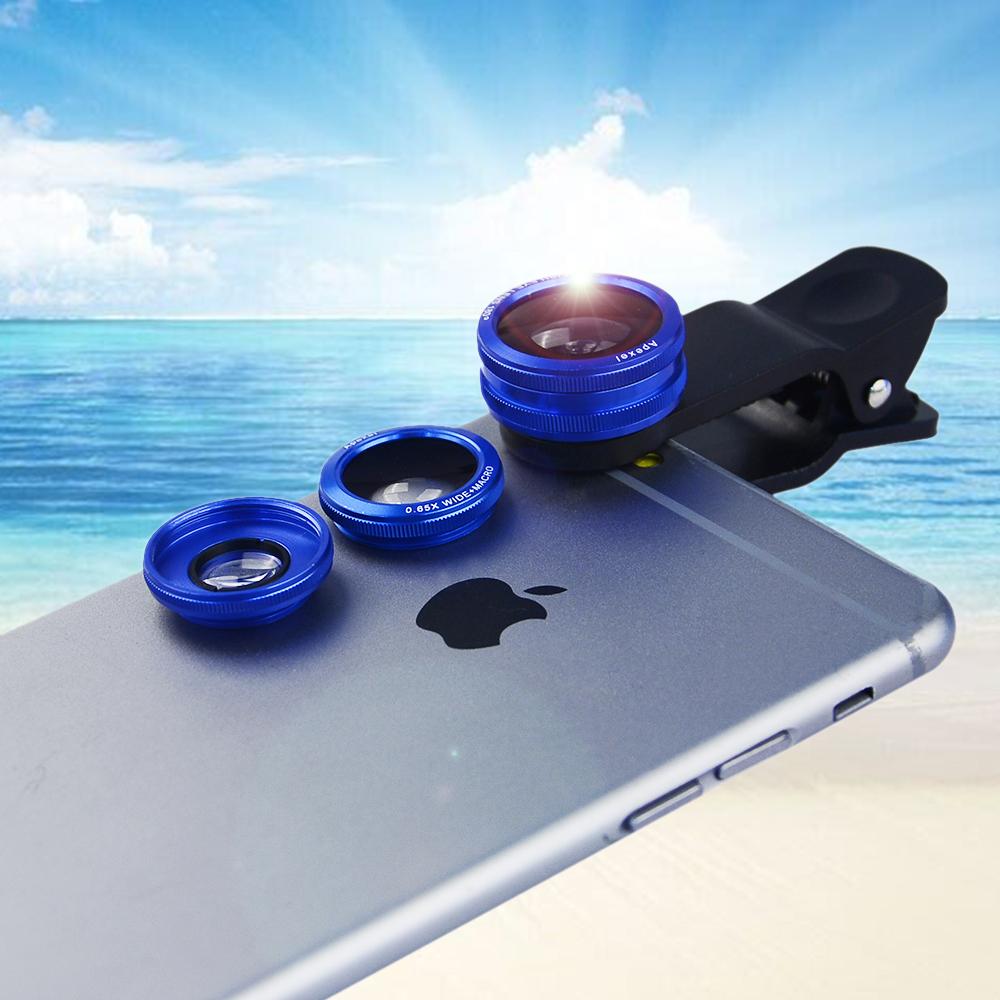 10PCS/LOT 3 in 1 camera lens Kit universal Clip-On 180 Fisheye lens 10X Macro lens 0.65X Wide angle Lens for iPhone 6 6 Plus