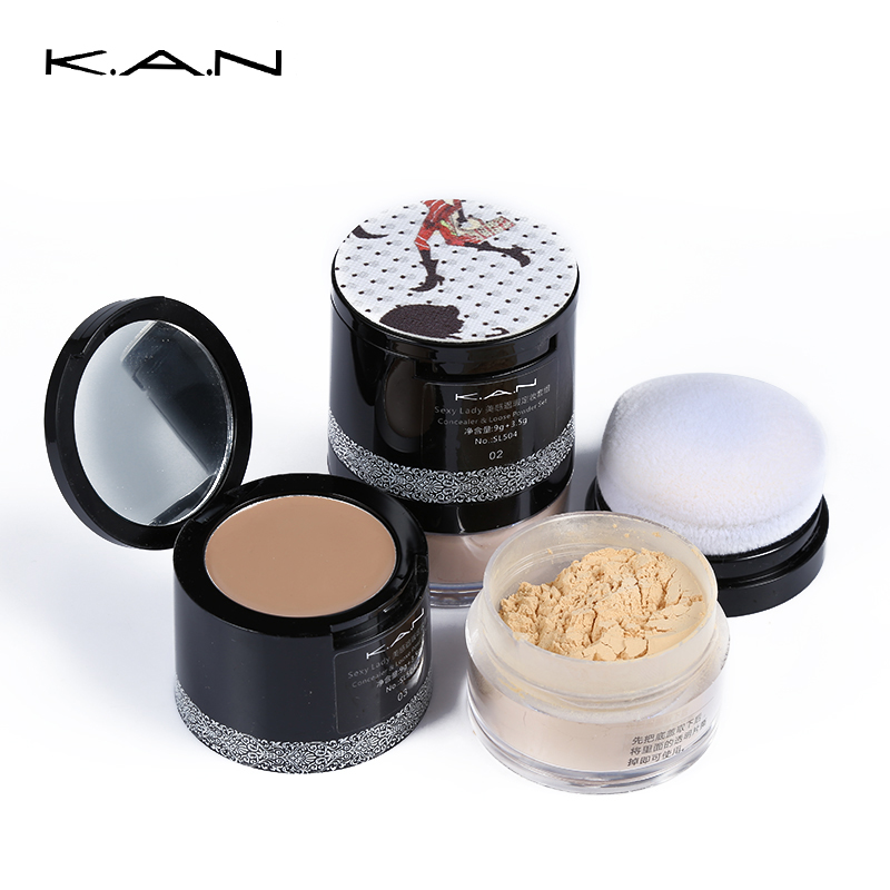 Kan Concealer Palette & Loose Powder Set Cover Blemish Finishing Powder Foundation Contour Palette Mineral Makeup Brown Kit Gift(China (Mainland))