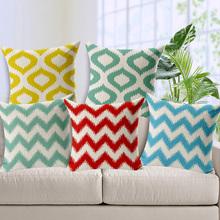 free shipping colorful chevron water wave home decor cushion decorative linen cotton pillow diamond throw pillows sofa cushions